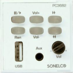 PC3682-01- Module d'entrée 2 canaux - porte USB MP3 + jack - blanc